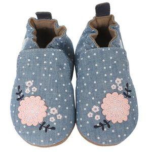 Robeez Chambray Bouqet Soft Sole Shoes, sz 18-24M